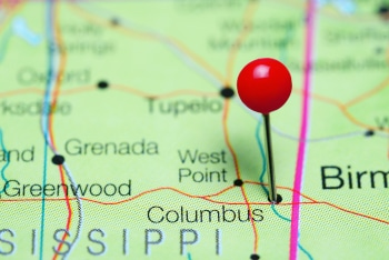 Columbus pinned on a map of Mississippi, USA